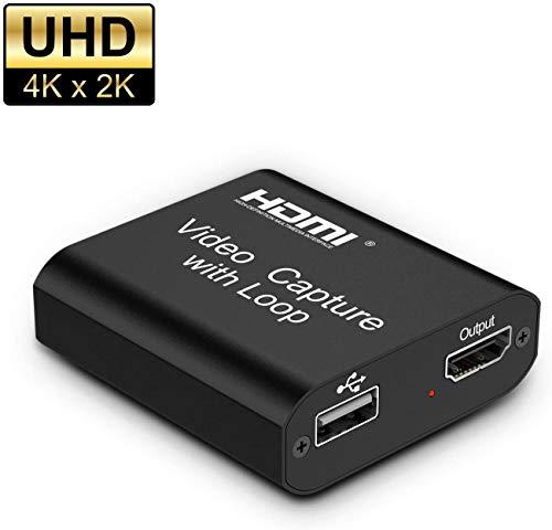 Rybozen Audio Video Scheda di acquisizione HDMI con Loop out, USB 2.0 4K HD 1080P 60FPS Scheda di acquisizione per Videogiochi HDMI per Streaming Live per PS3 / PS4 / Xbox One/DSLR/Videocamere