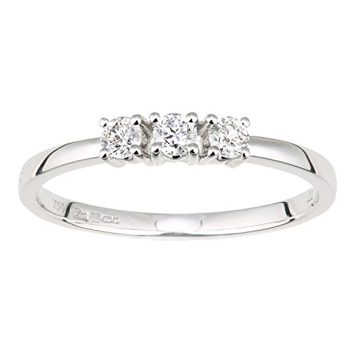 Naava Women's 18ct White Gold 0.22ct Diamond Trilogy Ring - Size O