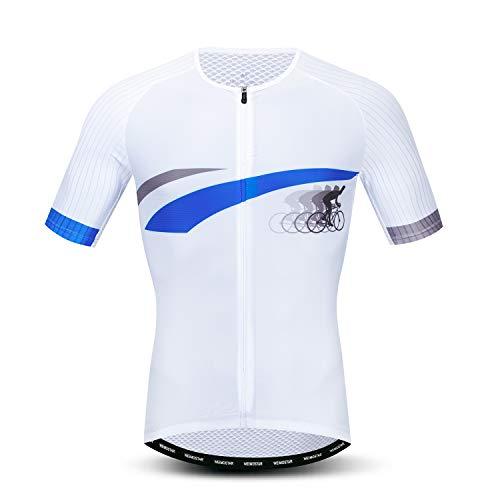 Jpojpo - Maglia da ciclismo da uomo, taglia S-3XL, in lycra e poliestere, con cerniera catarifrangente, 4 tasche - Bianco - petto 104/110 cm = etichetta XL