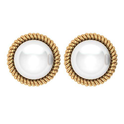 Pendientes clásicos de boda, 8 ct 8 mm, perla solitario, antiguo anillo espiral, pendientes de dama de honor, único anillo de declaración, perla, tornillo hacia atrás