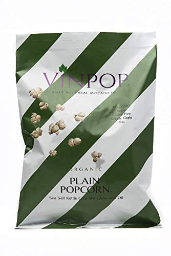 VINPOP Organic Popcorn - Plain with Avocado Oil, 2 Ounce Bag - 5 Pack, Made with Wine Popcorn, Non GMO, Gluten Free