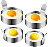 COLIBROX Egg Ring, Stainless Steel Omelet Mold Non Stick Pancake Ring Mold for Frying Egg, Egg Circles for Griddle (2 Sizes, 4 Pack)