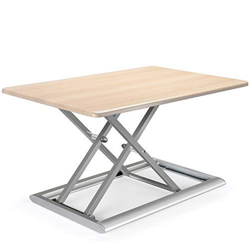 Viozon⾼さ調整可能 昇降式 多機能テーブル スタンディ ングデスク オフィスワーク テーブル/デスク/⾷卓 ダイニ ングテーブル 折りたたみ無 段階座位⽴位両⽤オフィスワ ークテーブル 76 x 51cm(木の目)
