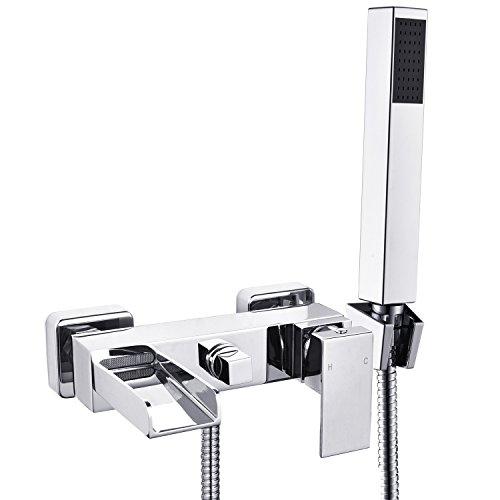Wasserrhythm 2 Verbraucher Wannenarmatur Einhebel-Wannenmischer Armatur Wasserhahn Duscharmatur mit Handbrause inkl. Wandhalterung für Bad Wasserfall, Wandmontage aus Messing verchromt