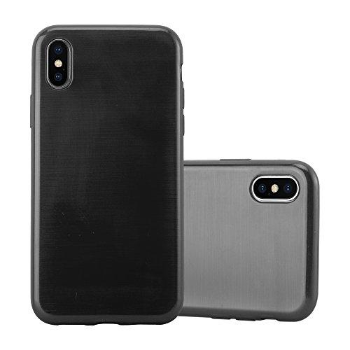 Preisvergleich Produktbild Cadorabo Hülle für Apple iPhone X / XS - Hülle in SCHWARZ Handyhülle aus TPU Silikon in gebürsteter Edelstahloptik (Brushed) Silikonhülle Schutzhülle Soft Back Cover Case Bumper