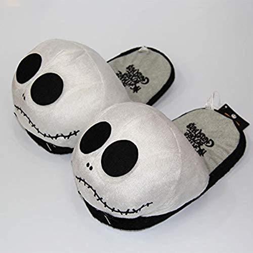 DINEGG Frauen Hausschuhe Flip Flop Hausschuhe Plüsch Baumwolle Schuhe Puppe Schädel Monster Halloween Indoor Cartoon Hausschuhe (Farbe: 1, Schuhgröße: 8.5) YMMSTORY (Color : 1, Size : 10)