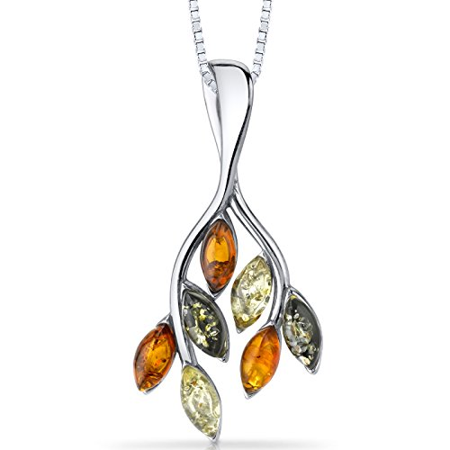Baltic Amber Leaf Pendant Necklace Sterling Silver Multiple Colors