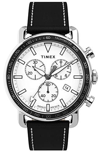 Timex Military Port TW2U02200 - Reloj de pulsera para hombre (cronógrafo, analógico, cuarzo, con correa de piel negra)