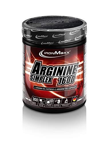 IronMaxx Arginin Simplex 1600 – Ideal für Bodybuilding – Extra hohe Konzentration von L-Arginin Aminosäuren – Muskelaufbau, Kraftaufbau und Ausdauertraining – Supplement – 300 XXL Kapseln (Tricaps)
