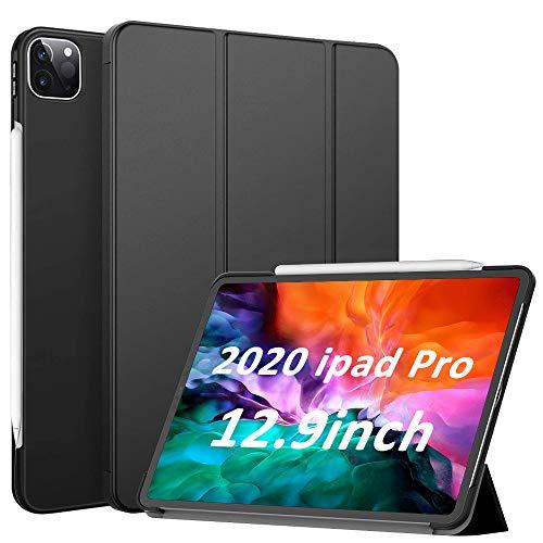 mixigoo Hülle für iPad Pro 12.9 Zoll 2020, PU Leder Schutzhülle iPad Pro 2020 Auto Schlaf-/Weckfunktion Unterstützt Kabelloses Laden Klappbar Multi-Winkel Ständer Folio Cover Schwarz