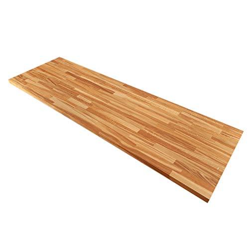 Solid Rustic Oak Timber Block Wooden Worktops - 2M x 620mm x 40mm Solid Wood Kitchen Worktop