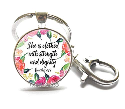 She Laughs Without Fear of Future,Proverbs 31 Woman,She is Clothed in Strength,Bible Verse Keychain,Scripture Keychain,Christian Keychain.Y237 (1)