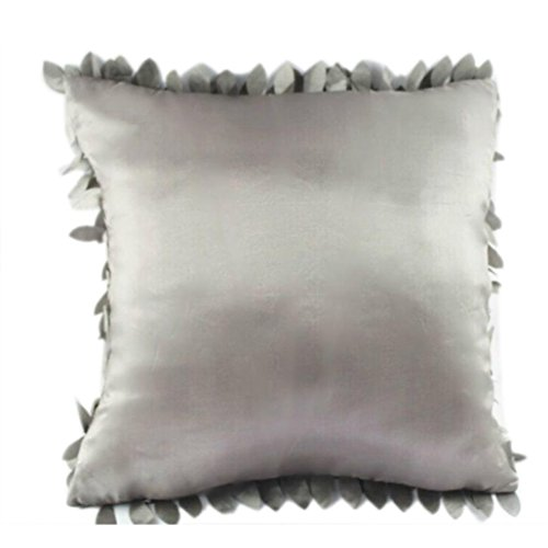 "Gotd 18""x18"" Retro Vintage Leaf Petal Christmas Throw Pillow Case Cover Decorative Art Square Pillowcase Cushion (Gray)"