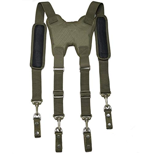 Melo Tough Tactical Harness Tactical Suspenders 1.5 inch Police Suspenders for Duty Belt (Army Green)