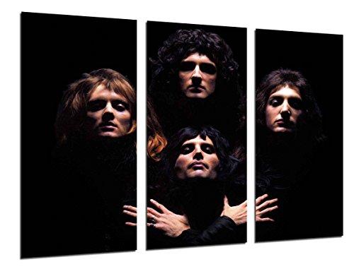 Wandbild - Queen, Freddie Mercury, Brian May, Rockmusik, Bohemian Rhapsody, 97 x 62 cm, Holzdruck - XXL Format - Kunstdruck, ref.26519