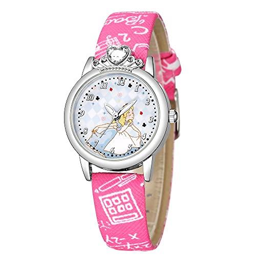 CXJC Reloj de Cuarzo Digital de patrón de Princesa Lindo, Reloj Deportivo Impreso de la Correa de PU, Relojes Personalizados para niños de Moda para niños (Color : E)