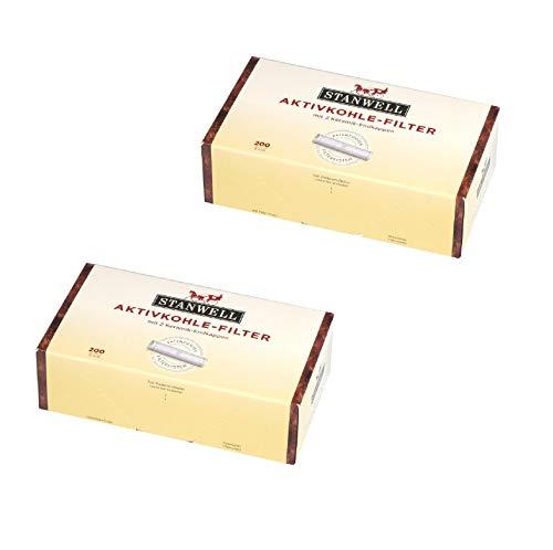 Stanwell Aktivkohle 9 mm-patentiertes System für höchsten Rauchgenuss-2 x 200 er Packung = 400 Filter, Gelb, M