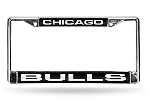 NBA Chicago Bulls Laser Cut Inlaid Standard Chrome License Plate Frame, Chrome