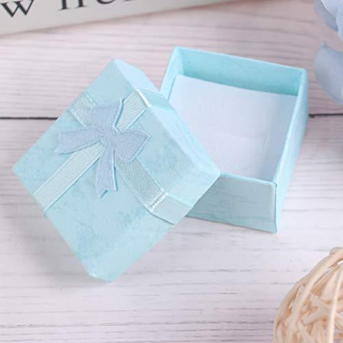 Haiabei Schmuck-Organizer / Geschenkbox, für Halsketten, Ohrringe, Ringe, Papierverpackung, kleine Schmuck-Geschenkbox, Schleife, Blau, 10 Stück