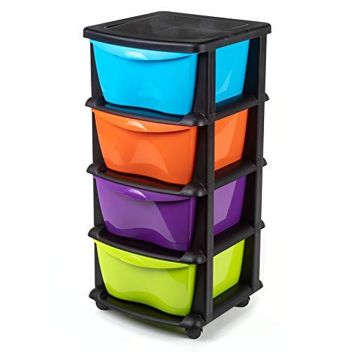 Schubladen aus Kunststoff auf Rädern Schwerlast Aufbewahrungsbox aus schwarzem Kunststoff mit 4 Schubladen Mehrfarbig