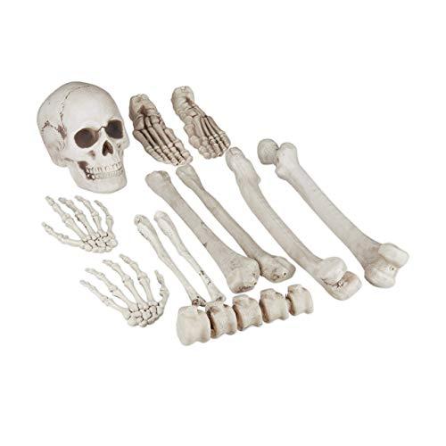 Relaxdays Dekoknochen, 12 TLG Set, Halloween, Außen & Innen, Knochen, Totenschädel & Skeletthände, Horror Deko, XXL, weiß, Standard