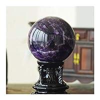 水晶球 ピュアナチュラルクリスタルボールパープルひびが入ったクリスタルガラス玉オフィス移転ボールラッキーボール風水ギフトデコレーション 天然水晶玉 (Size : 7cm)