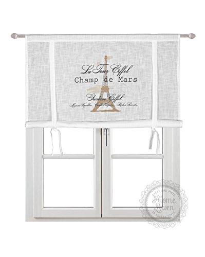 Scheibengardine Raff Gardine Raffrollo Vorhang 'Eiffel' 140 x 120 cm (BxH) weiß mit Stempel Aufdruck in beige schwarz Baumwolle Landhaus Shabby French Vintage Retro Antik Nostalgie
