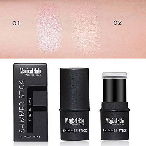 Royu 2 Colors Highlighter Stick, Shimmer Cream Powder Waterproof Light Face Cosmetics, Creamy Self Sharpening Crayon Stick Brightener