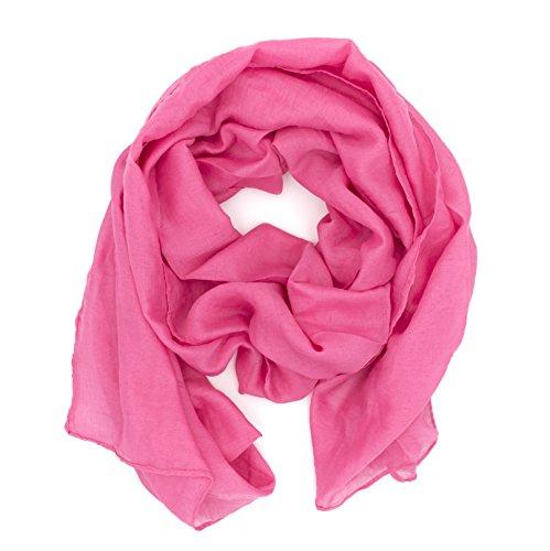 DOLCE ABBRACCIO by RiemTEX WILD CAT Damen Schal Halstuch Tuch aus Chiffon für Frühling Sommer Ganzjährig (Pink)