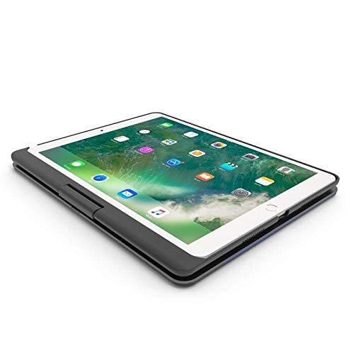 WERTY Tableta Colorida Teclado de la luz de Fondo para iPad 10.2 2020 2019 Gire la Funda de aleación de Aluminio del Teclado de Bluetooth inalámbrico de rotación (Color : Black)