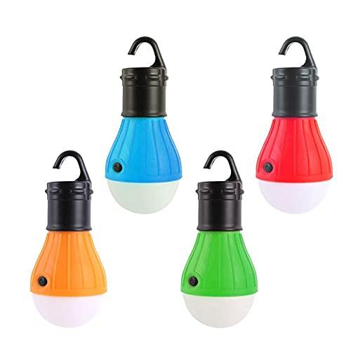 SJNSJN Lámpara LED Para Tienda de Campaña, Bombillas a Pilas LED luz Camping, Farol LED Portátil, para Camping, Tiendapara, Pesca, Montañismo Luz de Emergencia, Sin Incluir la Batería, 4 pcs