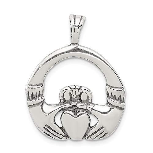 Collar con colgante de plata de ley 925 con diseño de nudo celta de Claddagh con parte trasera plana y parte trasera irlandesa