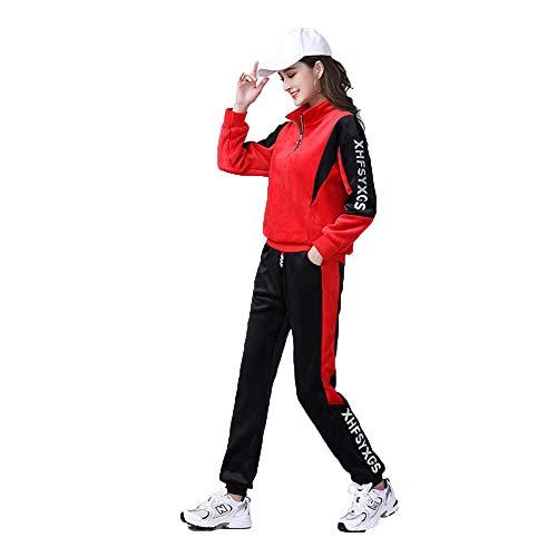 YTATY Conjunto De CháNdal para Mujer Plus Traje Deportivo Grueso De Terciopelo Medio Cuello con Cremallera para Baile Cuadrado Deporte Running Yoga Gym (XL,Rojo + Negro)