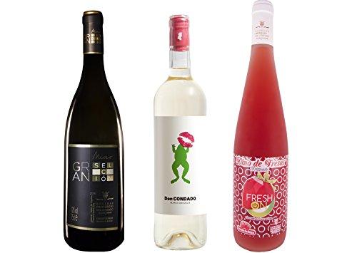 Pack 3 botellas - 1 Botella Vino Blanco Mioro Gran Selección, 1 Botella Vino Blanco Semidulce Don Condado y 1 Botella Vino de Fresas Frizzante Fresh On de 0,75L