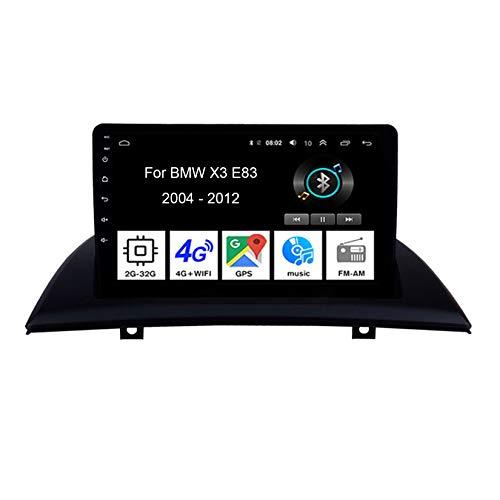 Android 10 Radio De Coche 9 Pulgadas Pantalla Tactil para Coche para BMW X3 E83 2004-2012 4 Cores 2G+32G Android Auto Coche Conecta Y Reproduce Coche Audio FM/Am/RDS Video Cámara Trasera