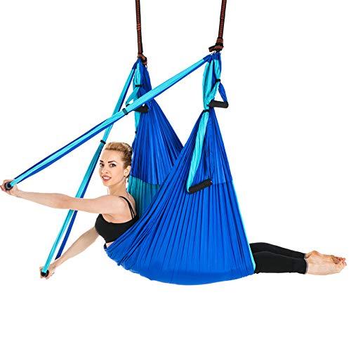Sinbide Yoga Hängematte Anti-Gravity-Schwingen Hängematte Yoga Tuch hängen Schaukel Yoga Tuch Yoga 250 * 150 cm 600kg Belastung mit Tasche (blau 02)