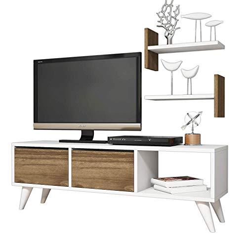 Minar by Home Mania - Mueble de TV escandinavo Foxy - L 120 x Alt. 40 cm - Marrón