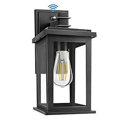 Dusk to Dawn Sensor Outdoor Wall Lantern, Exterior Wall Sconce, Wall Mount LED Lights with E26 Socket, Anti-Rust Waterproof Porch Light Fixture with Clear Glass Shade for Garage, Doorway