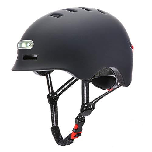 BSTQC Casque de vélo/Skateboard électrique à LED Light(M, Noir)