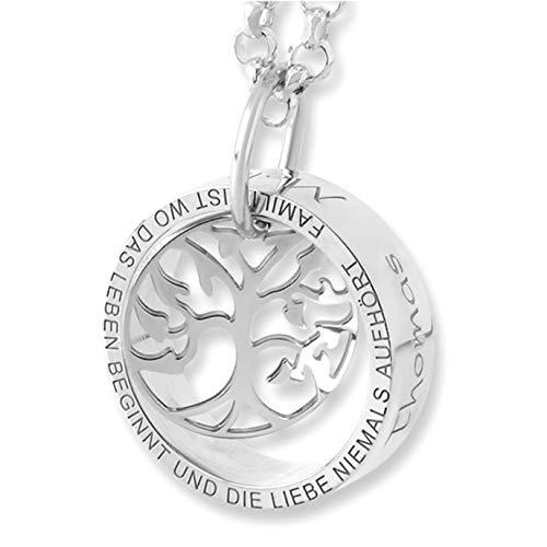 Namenskette Schmuck Gravur ❤️ Familienkette mit Wunschgravur ❤️ 925 Silber Lebensbaum Kette mit Namen | HANDMADE IN GERMANY