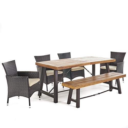 Christopher Knight Home Jelle | 6 Piece Acacia Wood Dining Set with Wicker Dining Chairs and Beige Cushions | in Multibrown with Teak Finish