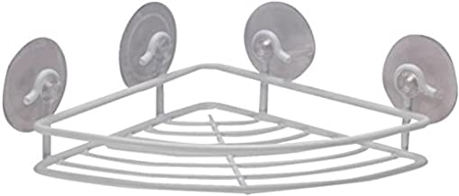 Rocky Mountain Goods Corner Shower Caddy Caddy Suction Cup - Rust proof corner shelf for shower shampoo and soap - 4 extra strength suction cups holds weight of heavier shampoo / soap (White)