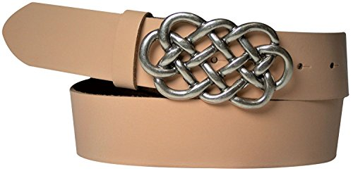 FRONHOFER cinturón de señora celta, 4 cm, cuero auténtico, hebilla celta, plata, cinturón de cuero, 18220, Talla:cintura 85 cm, Color:durazno