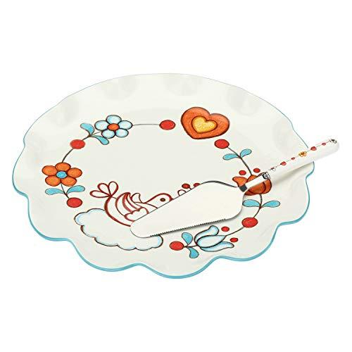 THUN ® - Piatto - Linea Folk - Porcellana - Multiuso Grande - ø 32 cm - con Paletta 25 cm