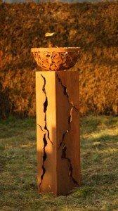 Gartendekoshop24 Rostsäulen Die Fackel Säule mit Feuerschale 100cm