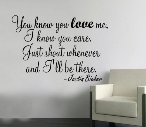 Wall Sticker - You Know you love me Justin Bieber ...Wallart bedroom bathroom -MEDIUM -SIZE 60cm x 40cm -Forest by Windsor Designers