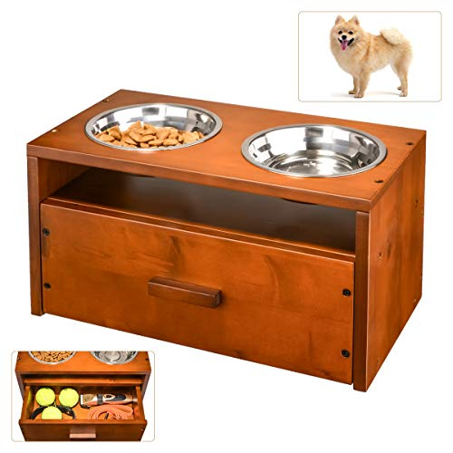CSOURCE's Wooden Elevated Pet Feeder Station