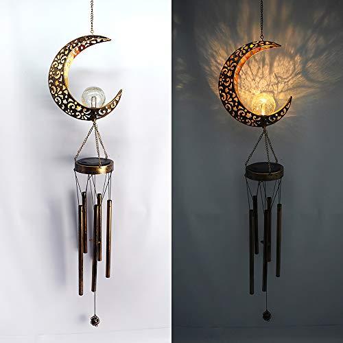 Campanelli eolici da appendere Luce, campanelli eolici solari impermeabili per giardino Lampada da luna ad energia solare da esterno Appeso Decorazione a sfera di vetro crackle Luci LED bianche calde
