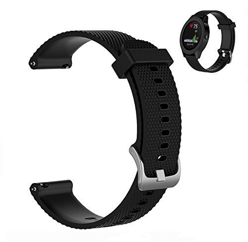 WEINISITE 20mm Armband für Garmin Vivoactive 3/Forerunner 245/Forerunner 645/Garmin venu/Samsung Galaxy Watch Active 2/Watch 3 41mm/Suunto 3 Fitness Silikon Ersatzarmband (#1, L)
