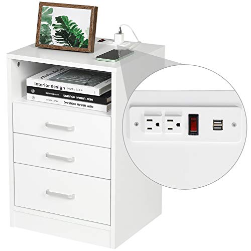 ADORNEVE White Nightstand 3 Drawers with Open Storage Bedroom Furniture End Table Side Table Wooden Sofa Side Stand Cabinet,with Sliding Drawer